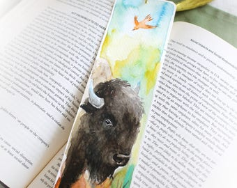 Original Watercolor painting, buffalo, bookmark with tassel, hand painted, gift for readers