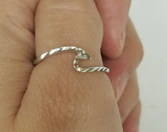 Diamon Cut Wave Ring, Sterling Silver, Ocean Surfer, Gifts for Her
