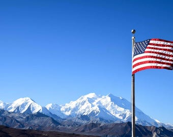 Flag over Mount Denali Alaska Print
