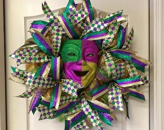 Front Door Wreath, Mardi Gras Mask Wreath, Louisiana Wreath