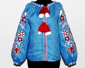 Boho Clothing Ukrainian Vyshyvanka Embroidered Blouse Bohemian Clothes Custom Embroidery Bohochic Ethnic Ukraine Vishivanka Blue linen