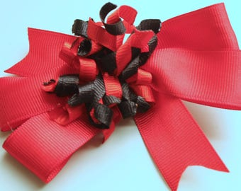 Red and Black Handmade Hair Bow