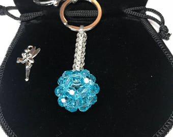 Swarovski Orb ball handbag charm key ring with full persian chainmaille