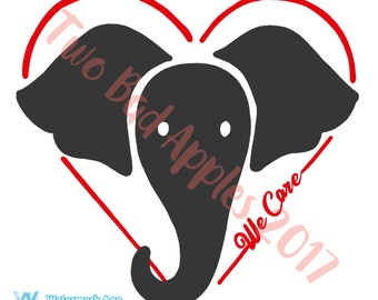 We Care/Elephant stickers/circle/Fundraiser for DSWT