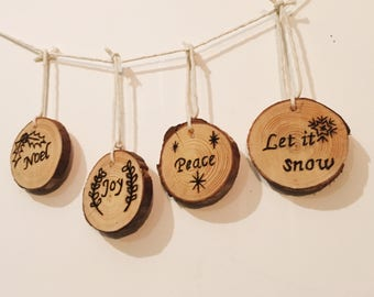 Set of 4 Hand Made Wooden Christmas Tree Ornaments