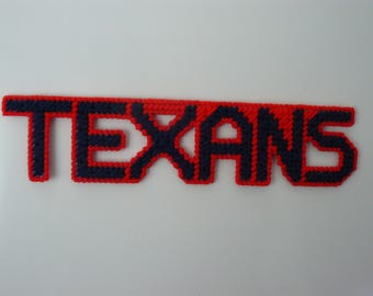 TEXANS in Handmade Needlepoint Sports Magnets