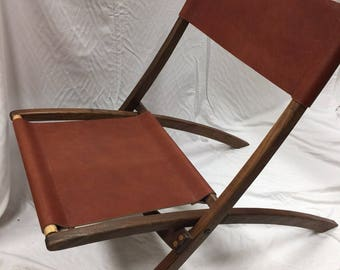 Leather and walnut chair