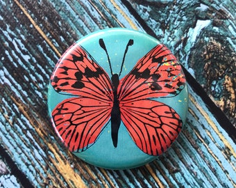Orange Butterfly 2.25 inch Button