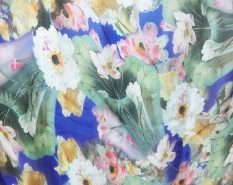 Discounted Absolutely Gorgeous Asian Lotus Floral Digital Printed Pure Silk Organza Fabric Sheer Material 135cm wide By the Yard dza-2024