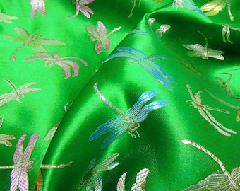 """36"""" wide Chinese brocade dragaonfly on emerald green shiny satin fabric faux silk material embroidered by the 0.5 YARDS, Yards Meters BR 307"""