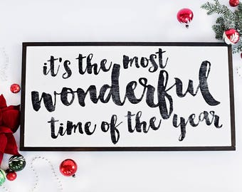 It's the Most Wonderful Time of the Year | Hand Painted Sign | Christmas Decor | Made in Canada