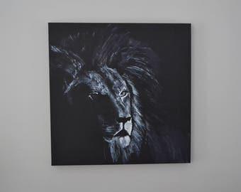 LE ROI - Peinture sur toile à l'acrylique lion sauvage