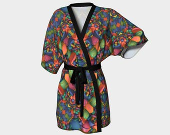 Chaotic Order - Kimono Robe, Bath Robe, Lounge Wear, Robe, Coverup. Swim Coverup, Gift for Her, Gift for Him, Active Wear, Bridesmaid Robe