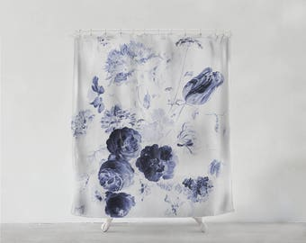 Royal Blue Vintage Flowers shower curtain - Bathroom art  - Bohemian - Home decor - Bathroom Sets - unique wedding gift for couple S#44