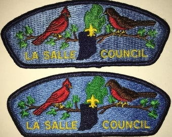 Boy Scout of America - La Salle Council -  Shoulder Patch - Set of Two - Used