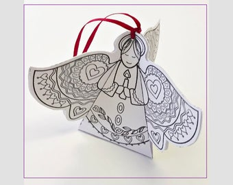Angel. Valentine. Coloring. Angel Ornament. Valentine Coloring. Valentine for Friend. Valentines Day Gift. Instant Download