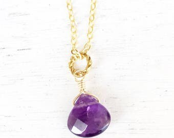 Gold fill amethyst necklace,gold fill necklace,minimalist jewelry,gift for her,amethyst necklace,February birthstone,layered necklace