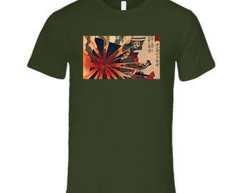Samurai Rising Sun Fire T Shirt