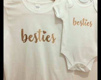 Besties! Matching Mum & Baby Tshirt/Baby Vest/Outfit/Christmas Gift/Mother Daughter Matching/Mommy and me matching/Baby Gift