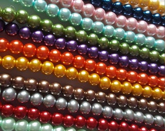 8mm glass pearl beads, Glass pearl beads, Pearl beads, Glass beads, Jewellery making beads, Jewellery making, Round beads, Glass pearls