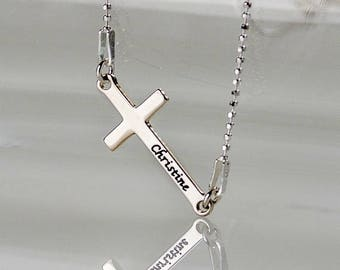 Personalized Engraved Side Cross Necklace in Sterling Silver 0.925