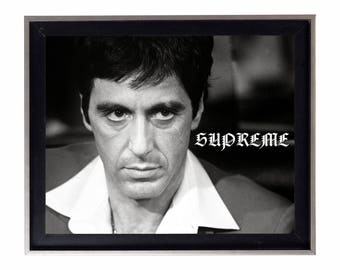 Supreme Scarface Black & White Poster or Art Print