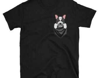 Funny Pied French Bulldog Pocket T-Shirt Cute Dog Gift