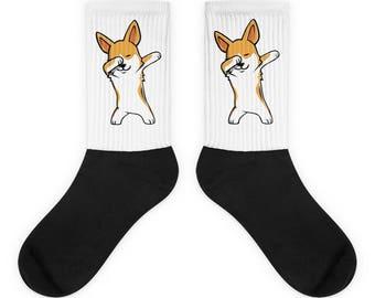Funny Dabbing Corgi Socks, Cute Corgi Gift, Dog Dab Dance Print