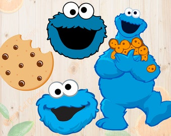 Cookie Monster Svg, Cookie monster Dxf, Eps & Png Cutfiles, Minions cut files for Cricut, Silhouette cameo, Cookie monster face Svg, Clipart
