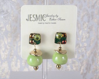 Too Much Fun and Brighter than Spring. Enamelled Posts. Gems Added. Disks on Apple Green Dangles.  Approx 1.5 long.
