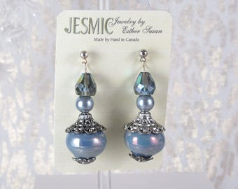 "Filigree ""Pagoda"" Shaped Bead Caps Over Iridescent Blue Pearls. Tear Drop Sparkle Accent Beads.  Silver Finish Posts. Nickle Free.  2"" Long"