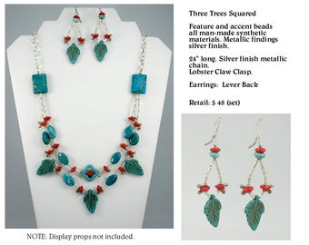 Turquoise Silver and Coral Look Necklace Set with Square Accents