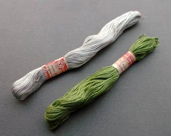 Set of 2 Soviet vintage cotton thread for embroidery. light gray, green. Sewing supplies. Made in USSR - the 1980s.