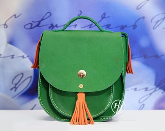 Cross body leather handmade bag