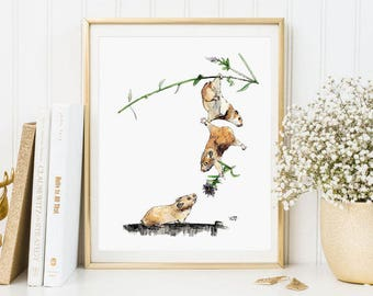 Illustrations mice, animals, mice, watercolour, watercolor, prints, watercolour prints, animal prints A4, A5, A6