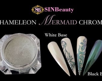2g - Mermaid Chameleon Chrome Powder- Easy To Use- DIY Nail Art- Professional Products