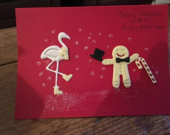 Ginger Bread Man and Stork Christmas Card