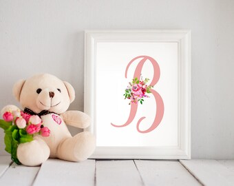 Personalized Monogram / Letter Nursery Printable Art Print. Nursery Watercolor Floral. Girl's room. Digital download. Baby shower gift.
