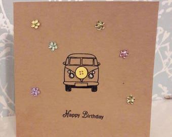 Campervan card. Handmade birthday card. Campervan happy birthday card
