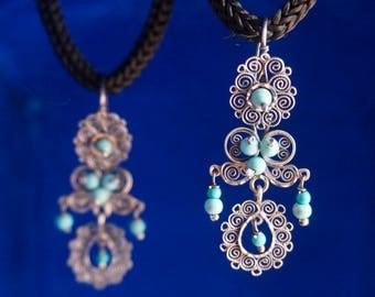 Handmade silver filigree earrings