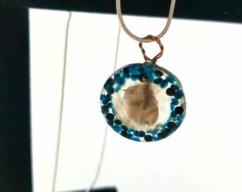 Blue Swarovski Crystal Framed Feather Pendant Necklace