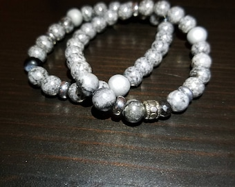 Grey Luster Glass Beaded Stretch Bracelet