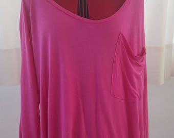 Shredded long sleeve pink shirt