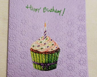 "Handmade Greeting Card,  4&1/8x5.5"" Greeting Cards,  Embossed Birthday Cupcake Greeting Card, Made in the USA, #55"