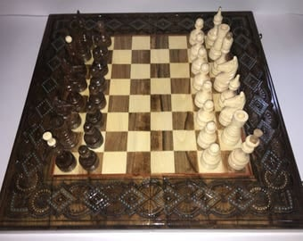 Wooden Carved Chess Checkers Backgammon game board set Handmade 3 in 1