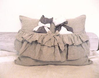 Linen Pillowcase with ruffles pocket Frill Pillow Sham Standard Queen King Euro Pillow Case