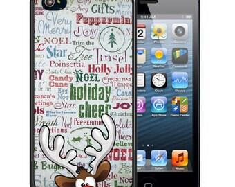 Personalized Rubber Case For iPhone X, 8, 8 plus, 7, 7 plus, 6s, 6s plus, 5, 5s, 5c, SE - Rudolph Deer Text