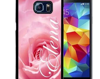 Personalized Rubber Case For Samsung S5, S6, S6 edge, S6 Edge Plus, S7, S7 Edge,  8, 8 plus -  Pink Rose
