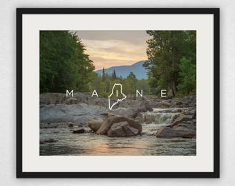 Carrabassett River Sunset - Maine Design Wall Art and Canvas Print