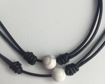 Black & White Marble Leather Necklace